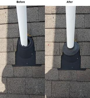 roof leak from cracked pipe boot